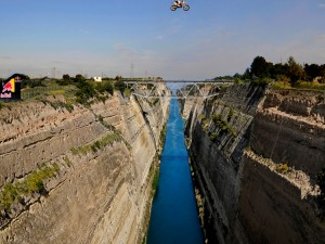 Robbie Maddison jumps Corinth Canal in Greece