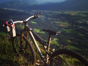 I live in a ridiculously nice place. Just pedalled up, now comes the fun part!! #mtb #dh