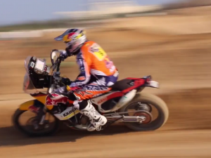 Sam Sunderland takes his Rally bike to the MX Track