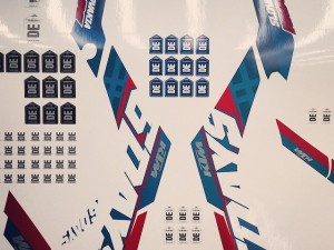 Photo of the stickers being printed last year for the 2016 EXC six days model before presenting the design to KTM. #KTM #exc #de_portfolio #enduro #design