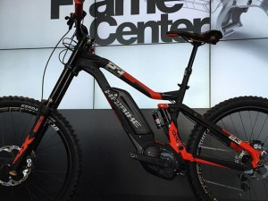 Just arrived at eurobike 2015 and it's clear the world of mountain bikes has entered a new phase. This #haibike @tschugg23 edition 200mm travel #downhill bike is sick! You can also as charge uphill on it! Just gone to the top of our need to ride list! #xduro #650b #mtb