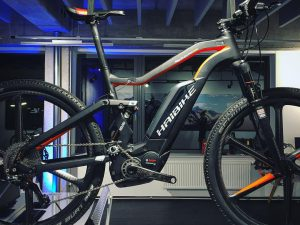 Check out this beaut hanging in the new HDCM office in Munich! #fullseven #xduro carbon ultimate from @haibike_official #mtb #haibike
