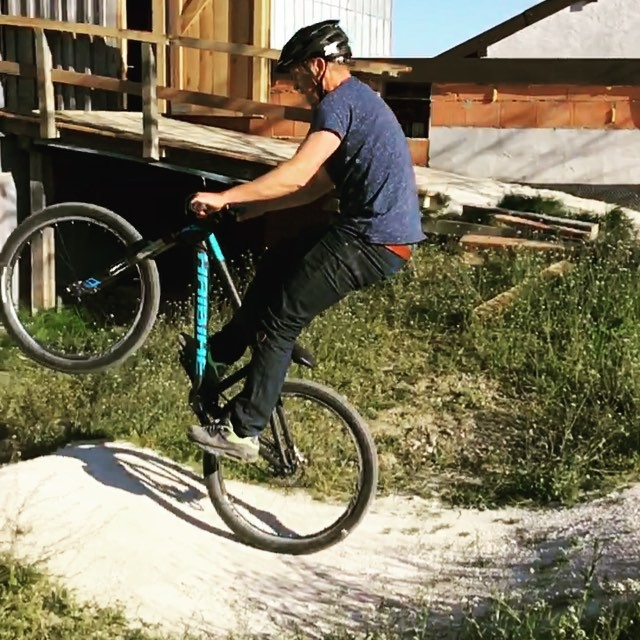 Technically this is really a manual not a wheelie, but anyway, check out @tschugg23 in action on his pump track! #wheeliewednesday #haibike #pumptrack