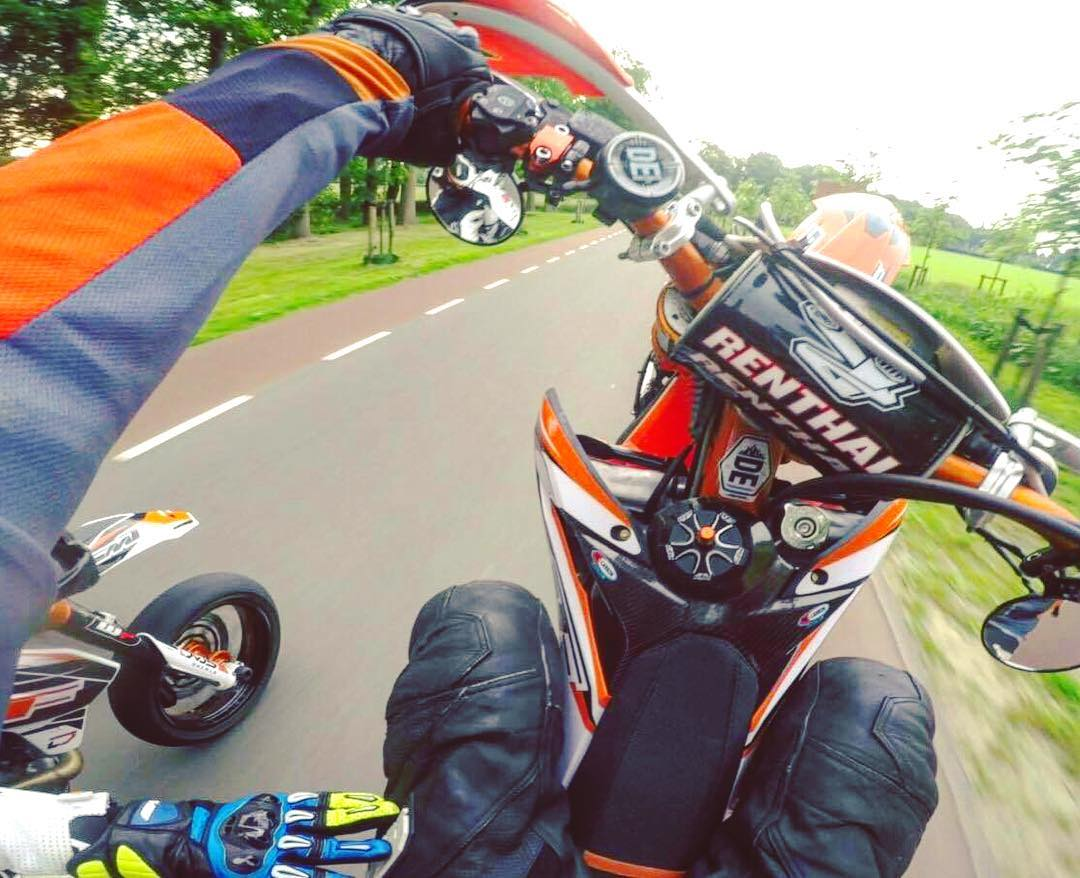 Love this shot @crashking_smf of the @supermofools sent us! Nice sticker placement too :) #supermoto #wheelie #ktm