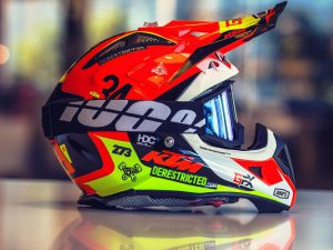 Big thanks to @monsieur_ash for hooking me up with last the #airoh I designed for #KTM and the one design missing from my collection for my birthday last weekend! Stoked! #de_portfolio #ride100percent