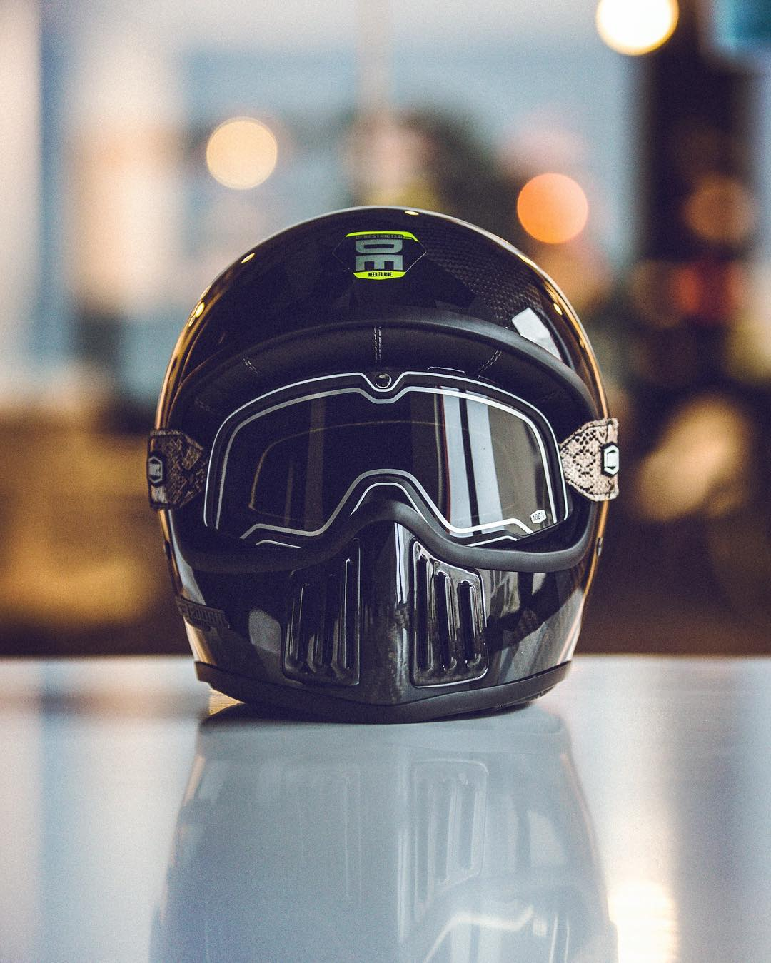 Coming soon from the designer of the superb #bavarianfistfighter @winston_yeh is this new Premium leather and Carbon Fiber helmet. Winston kindly asked us to come up with a DERESTRICTED design for a limited edition model, on top of this base. Can't wait to show that too! #rninet #ride100percent #thebarstow