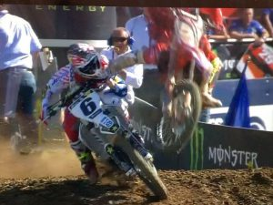 Gnarly crash! Jason Anderson didn't clear the finish line jump as he took the win at #mxon and got landed on. Apparently @elhombre_21 is ok thankfully (!!!!) which is why we are posting it, but that looked horrible! #jasonanderson #moto #motocross #mxdn