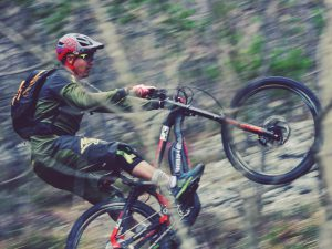 Going fast or going slow, it doesn't matter, @tschugg23 is a master of finding the balance point on the back wheel! 👾 @hdc_m #haibike #xduro #emtb #mtb #dh #ebike #ride100percent