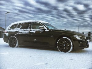 First snow! Such a good car for this time of the year. #bmw #f31 #xdrive #msport