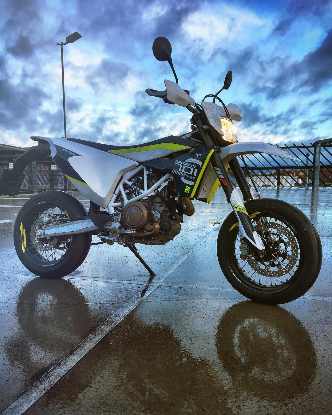 Snow melted, back on the bike! #husqvarna #701 #supermoto #moto