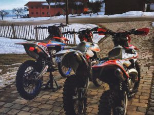 Well, @tschugg23 and my bikes are ready, now just got to wait until the snow melts and the tracks open again! #ktm #moto #enduro #350sxf #300exc #ride100percent @fmf73