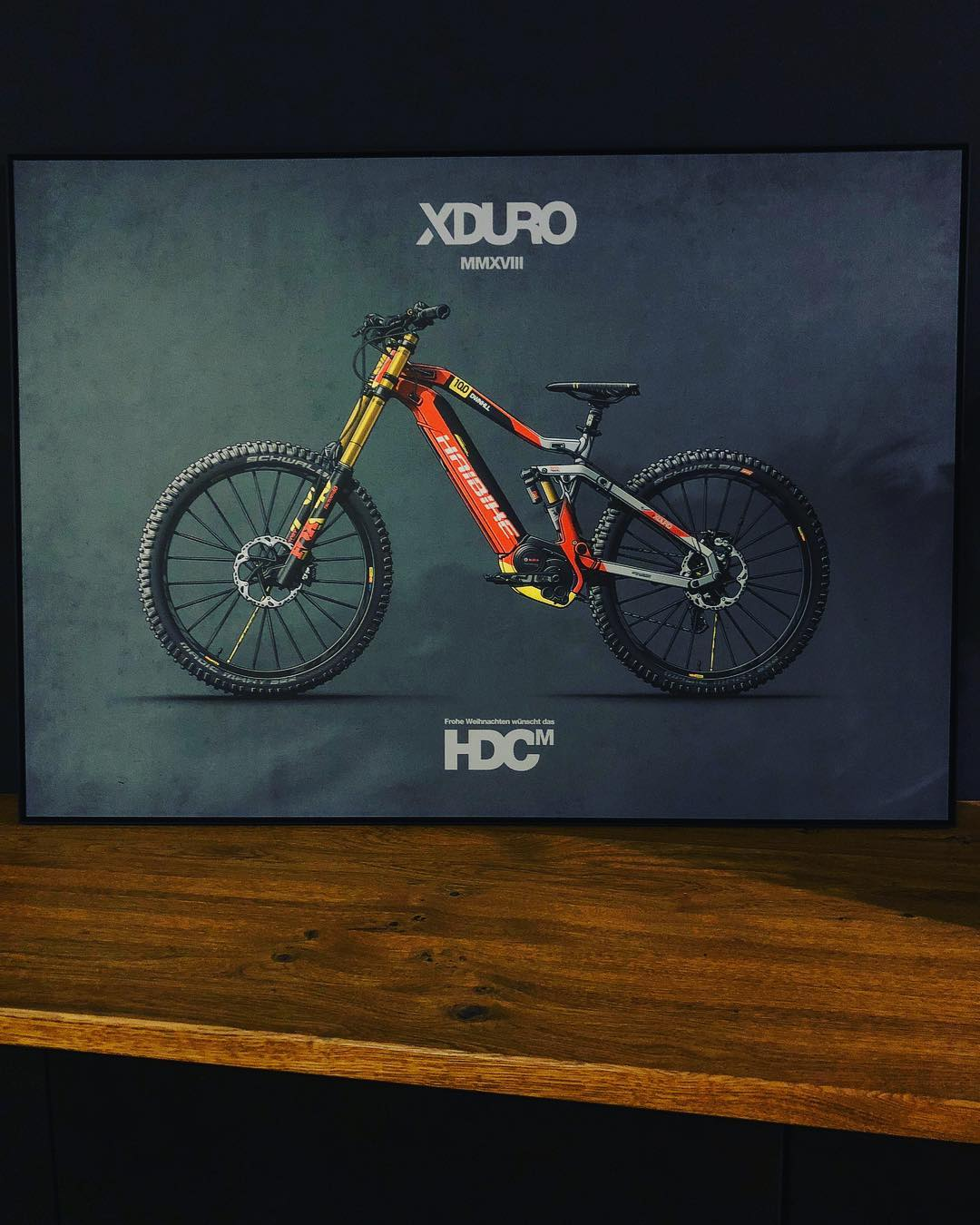 Xmas present to some of our partners and also one for ourselves for the office. Big thanks to @jepsenillustration for coming through on illustrating this shot of one of our favourite bike designs last year, looks so killer blown up like this on Alu-Dibond. Merry Xmas! #haibike #design #xduro #emtb