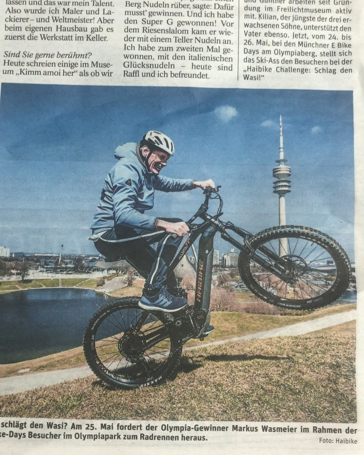 Article in yesterday's Local München newspaper featuring @markus_wasmeier who we photographed and made a short interview with ahead of next weekend's big @ebikedays event.